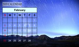 Template of 2019 Monthly Calendar with amazing nature landscape. Background. Copy Space stock image