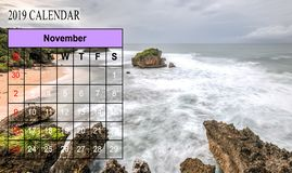 Template of 2019 Monthly Calendar with amazing nature landscape. Background. Copy Space royalty free stock photos