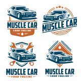 Muscle car logo, retro logo style, vintage logo. Template of Muscle car logo, retro logo style, vintage logo. Perfect for  all automotive industry Stock Photo