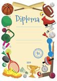 Sports diploma vector. Cheerful children's sports diploma vector illustration royalty free illustration
