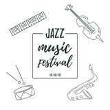 Vector illustration with saxophone, piano, violin, drum. royalty free illustration
