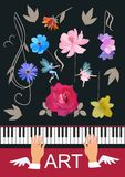 Template for musical banner with piano keyboard, winged hands, cute little fairy and elf, trble clef and musical notes as flowers royalty free illustration