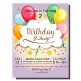 2nd birthday party invitation card with berry cupcake. Template of 2nd birthday party invitation card with berry cupcake vector illustration