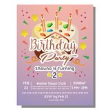 2nd birthday party invitation card with sprinkles tart. Template of 2nd birthday party invitation card with sprinkles tart Royalty Free Stock Image