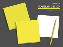 Template of notebook cover and papers. Stock Photos