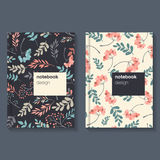 Template for notebook with floral dark background.  Royalty Free Stock Photo
