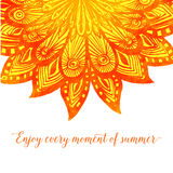 Template with orange doodle fire flower. Tribal. Design with text enjoy every moment of summer Royalty Free Stock Image