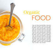 Template with orange jam in a jar Royalty Free Stock Image