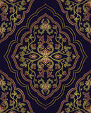 Template for oriental carpet. Colorful, floral ornament. Template for oriental carpets, textiles, shawl and any surface. Seamless  pattern of gold contours on a Stock Photo