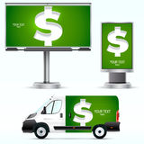 Template outdoor advertising or corporate identity on the car, billboard and citylight. Stock Images