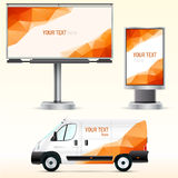 Template outdoor advertising or corporate identity on the car, billboard and citylight. Royalty Free Stock Image