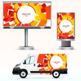 Template outdoor advertising or corporate identity on the car, billboard and citylight. Royalty Free Stock Photography
