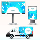 Template outdoor advertising or corporate identity on the car, billboard and citylight. Royalty Free Stock Photo