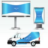 Template outdoor advertising or corporate identity on the car, billboard and citylight. Royalty Free Stock Photos