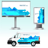 Template outdoor advertising or corporate identity on the car, billboard and citylight. Royalty Free Stock Images