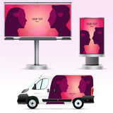 Template outdoor advertising or corporate identity on the car, billboard and citylight. Stock Photo