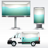 Template outdoor advertising or corporate identity on the car, billboard and citylight. For business, branding and advertising com Stock Photos