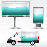 Template outdoor advertising or corporate identity on the car, billboard and citylight. For business, branding and advertising com Royalty Free Stock Photos
