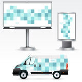 Template outdoor advertising or corporate identity on the car, billboard and citylight. Stock Photography