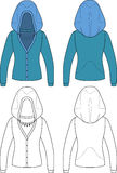 Template outline illustration of a blank hooded wo Royalty Free Stock Image