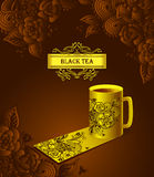 Template package cup of tea  with  Zen-doodle flowers black Royalty Free Stock Images