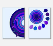 Template page design presentations, leaflets, flyers or cover. Background with eight blue concentric circles. Stock Image