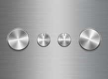 Template of panel of sound controls with metal brushed texture. Template of panel of sound control with metal aluminum or chrome brushed texture isolated on stock illustration