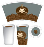 Template paper cup for hot drink with coffee cup Royalty Free Stock Photography