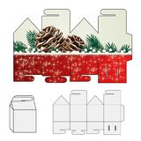 Template for paper wrapper, cover, shopping bag with a red christmas design. Paperbag, handbag  with cones, twigs, snowflakes and Stock Images