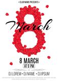 Template for party on March 8. Invitation card to the night club. Figure 8 of the red rose petals. Women`s Day. Names of the club. And DJ. Vector illustration Stock Photos