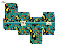 Template pattern decorative gift box with tropical toucan. Stock Photos