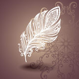 Template with Peerless Feather in Ornate Background Royalty Free Stock Photos