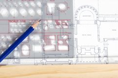Template pencil on house plan Stock Photography