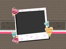 Template photo frame with colorful hearts. Template photo frame with colorful hearts on brown background with copy space for Valentines Day and other occasions royalty free illustration