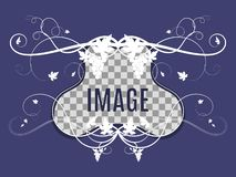 Template for photo with grape weaving. Template for photo with weaving of grapes on a purple background royalty free illustration