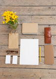 Template for photos, in Wooden floor is business cards, glasses, pencil, paper, flowers, purse Stock Photography