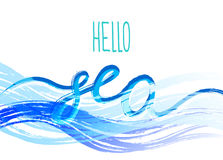 Template with the phrase Hello sea. Lettering. Vector art. Stock Images