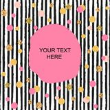 Template with pink, golden circles and black stripes. Text copy template for birthday/greeting card, invitation, flyers, cover. Pattern with black & white stock illustration