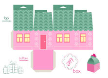 Template For Pink House Gift Box. Template for gift box in a form of cute house. Easy for installation - light grey parts of template are for glue. Two holes in Royalty Free Stock Image