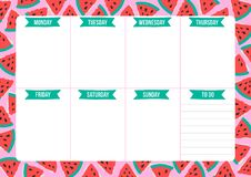 Cute weekly planner with drawn watermelon in scandinavian style. Template with place for notes. Vector illustration for print, office, school stock illustration