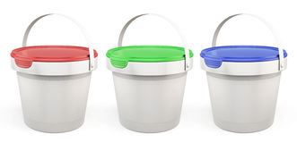 Template plastic buckets with lids various colors. 3d. Template plastic buckets with lids various colors  on white background. 3d illustration Royalty Free Stock Image