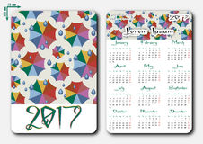 Template of pocket calendar with grid for 2017 Royalty Free Stock Images