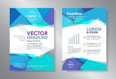 Template polygon abstract design magazine brochure flyer booklet. Cover annual report vector Stock Image