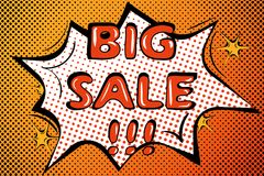 Template pop art style big sale bubble speech. Vector Stock Photo