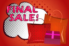 Template pop art style final sale bubble speech and shopping bags. Vector Stock Photo