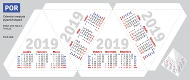 Template portuguese brazilian calendar 2019 pyramid shaped Royalty Free Stock Images