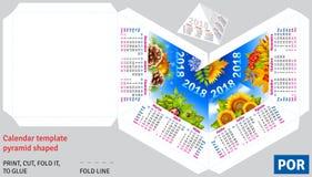Template portuguese brazilian calendar 2018 by seasons pyramid shaped Stock Photo