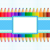 The template of the postcard or cover. Back to school. Template greeting card or cover: colored pencils on a background of notebook sheet in a cage; in the stock illustration