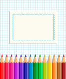The template of the postcard or cover. Back to school. Template greeting card or cover: colored pencils on a background of notebook sheet in a cage in the stock illustration