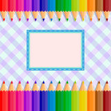 The template of the postcard or cover. Back to school. Template greeting card or cover: colored pencils on a fabric background in a cage in the center place for vector illustration
